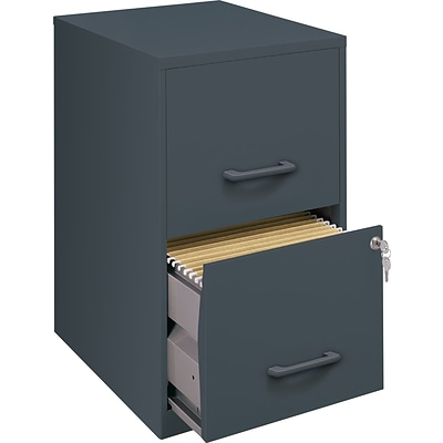 Office Designs Vertical File Cabinet, 18 Deep 2-Drawer, Letter Size, Graphite