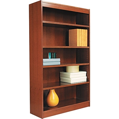 Alera® Square Corner Bookcase in Cherry Finish, 5-Shelves