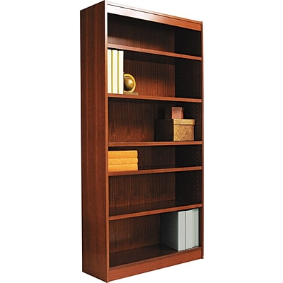 Alera® Square Corner Bookcase in Mahogany Finish, 6-Shelves