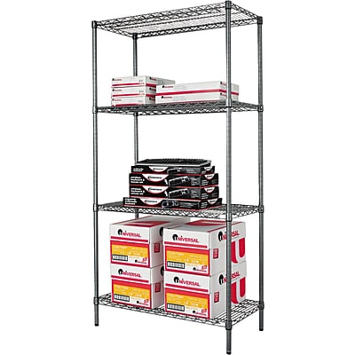 Alera® Industrial Wire Shelving Starter Set, 36Wx18D, Black Anthracite