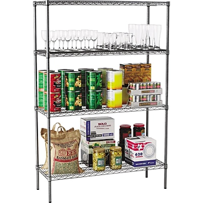 Alera® Industrial Wire Shelving Starter Set, 48Wx18D, Black Anthracite