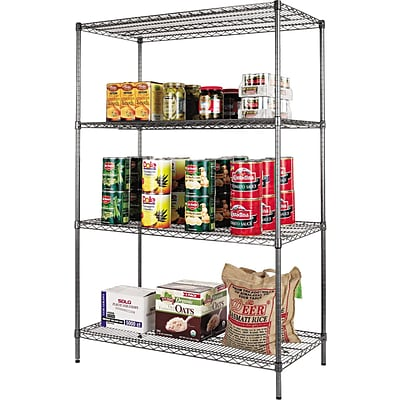 Alera® Industrial Wire Shelving Starter Set, 48Wx24D, Black Anthracite