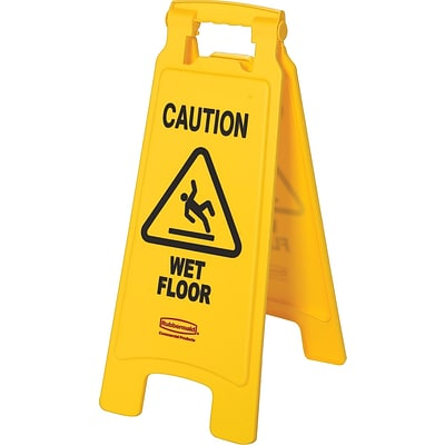 Rubbermaid® 2-Sided Folding Floor Signs, Caution Wet Floor