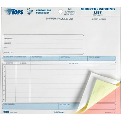 Tops® Snap-Off® Shipper/Packing List Forms, 3 Part, 8-1/2 x 7