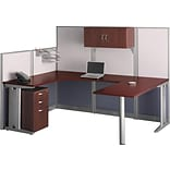 Bush Business Office in an Hour 89W x 65D U-Workstation w/ Storage and Accessory Kit, Hansen Cherry