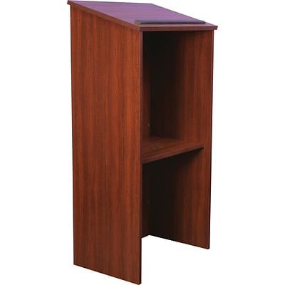 AmpliVox® One-Piece Full-Height Stand-Up Lectern Without Sound, Mahogany
