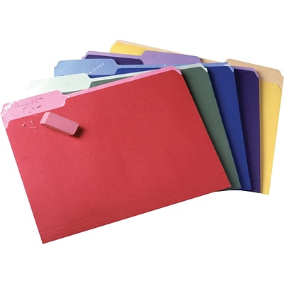 Pendaflex® Write and Erase File Folders, 3 Tab Positions, Letter Sz, Assorted Colors, 30/Box (84370)