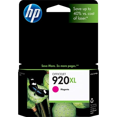 HP 920XL Magenta Ink Cartridge, High Yield (CD973AN#140)