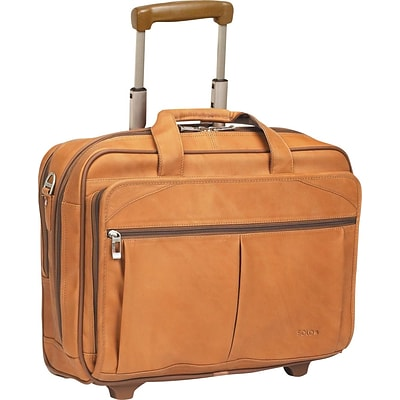Solo New York Full-Grain Leather Rolling Laptop Case, Tan, 15.6W (D529-1)