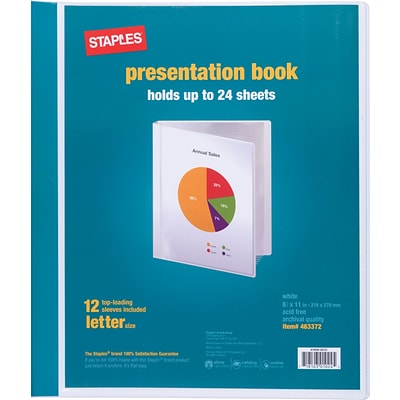 Staples Letter Clear Cover Presentation Book, White, Each (21621)