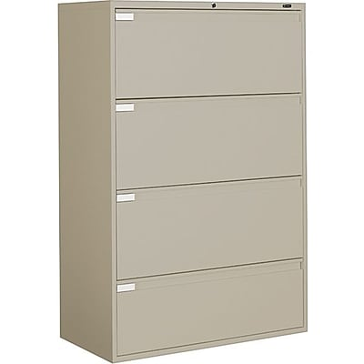 Global 9300P Series Business-Plus Lateral File Cabinet, Ltr/Lgl, 4-Drawer, Desert Putty, 18D, 36W