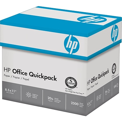 HP Quick Pack Copy Paper, 8-1/2 x 11, 92 Bright, 20 LB, 2500 Sheets
