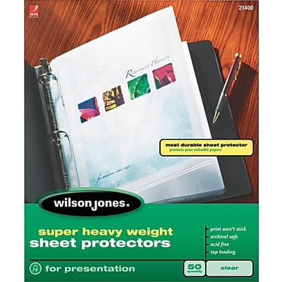 Wilson Jones Top-Loading Sheet Protectors, Super Heavy Weight, Clear, 5 mil, 50/Bx