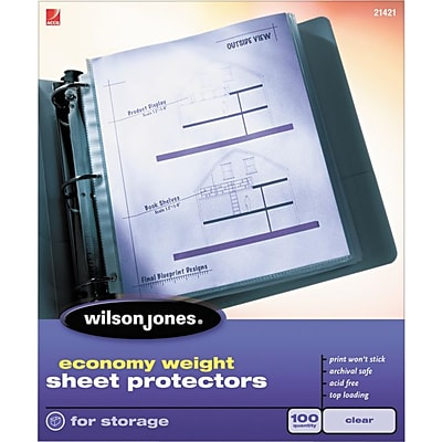 Wilson Jones Top-Loading Sheet Protectors, Economy Weight, Clear, 2 mil, 100/Bx