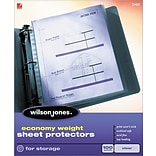 Wilson Jones Top-Loading Sheet Protectors, Economy Weight, Semi-clear, 2 mil, 100/Bx