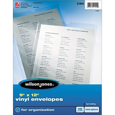 Wilson Jones Envelope Pouches Sheet Protectors, Super Heavy Weight, Non-glare clear, 5 mil, 10/Bx