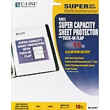 C-Line Super Capacity Sheet Protector with Tuck-In Flap, Vinyl, Clear, 11 x 8 1/2, 10/Pk