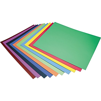Pacon Four-Ply Railroad Poster Board in Ten Assorted Colors; 28 x 22, 100/Ct