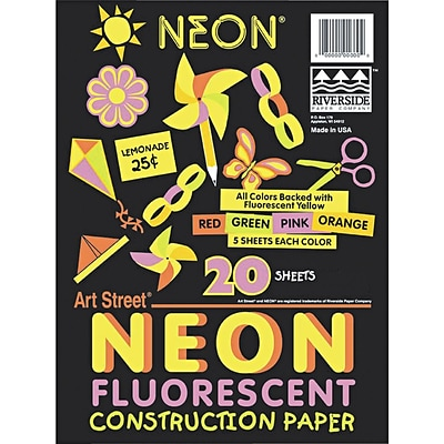 Pacon Art Street Neon Construction Paper, 76 lbs., Assorted Colors, 12 x 18, 20 Sheets/Pk