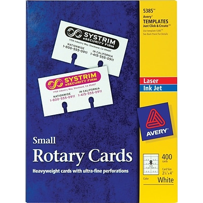 Avery Laser Rotary Cards, White, 02-1/6 x 4, 400/Pack (05385)