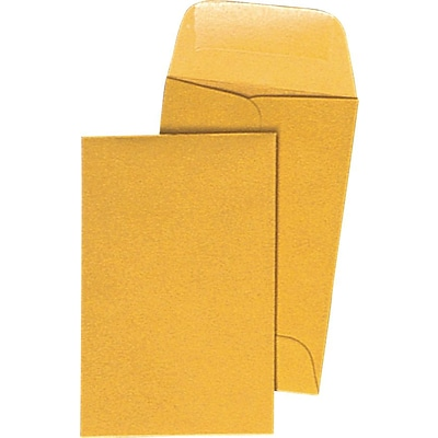 Brown Kraft Coin Envelopes with #7 Gummed 3-1/2 x 6-1/2, Closure, 500/Box