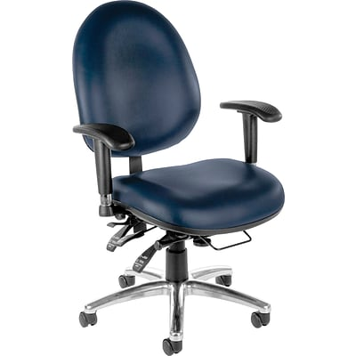 OFM 24 Hour Big and Tall Ergonomic Computer Swivel Task Chair with Arms, Anti-Microbial/Bacterial Vinyl, Navy, (247-VAM-605)