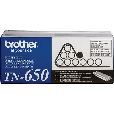 Brother Genuine TN650 Black High Yield Original Laser Toner Cartridge