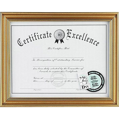 DAX Document Frame, Antique Gold, 8 1/2 x 11
