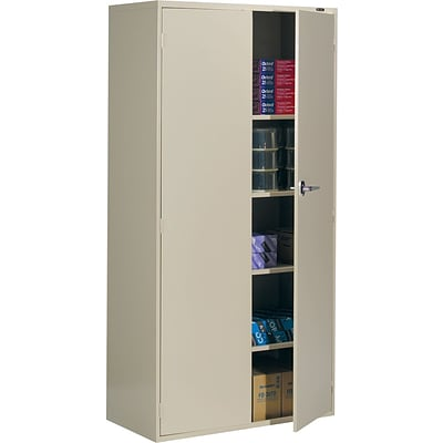 Global 9300 Series Economy Steel Storage Cabinets, Latch Handle, Desert Putty, 72H x 36W x 18D