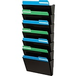 Stackable DocuPocket® Wall Files, 7 Pockets, Letter, Black, 28.73H x 12.98W x 3.93D