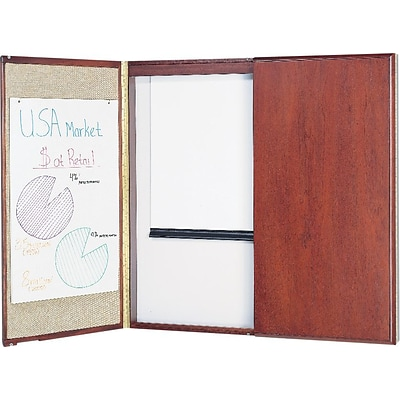 Quartet® Wood Veneer Marker Board Cabinets with Projection Screen, Mahogany