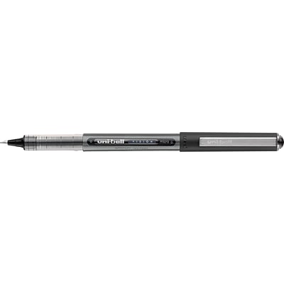 uni-ball Vision Roller Ball Stick Water-Proof Pen, Micro Point, 0.5 mm, Black Ink / Gray Barrel