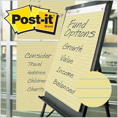 Post-it®, Easel Pad, 25 x 30, Faint Blue Ruled, Yellow, 2/PK, (561)