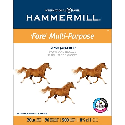 Hammermill Fore Multi-Purpose Copy Paper, 8-1/2 x 11, 96 Bright, 20 LB, 500 Sheets