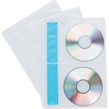 CD/DVD Storage Binder Sheets, White/Clear, 10/Pk