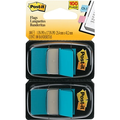 Post-it® 1 Bright Blue Flags with Pop-Up Dispenser, 2/Pack