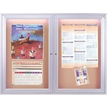 Ghent 2-Door Enclosed Bulletin Board with Concealed Lighting, 36 x 48