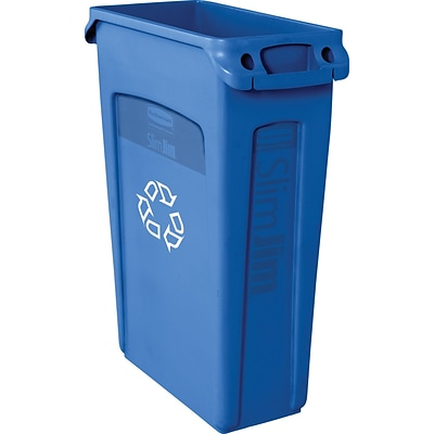 Rubbermaid Slim Jim Vented Recycling Container, 23 Gallons, Blue (FG354007BLUE)