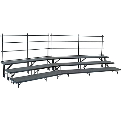 NPS #RS2LHB 2 Level Riser 18Wx96Lx8H & 18Wx96Lx16H Hardboard Multi-Level  Risers, Medium Hardboard/Black