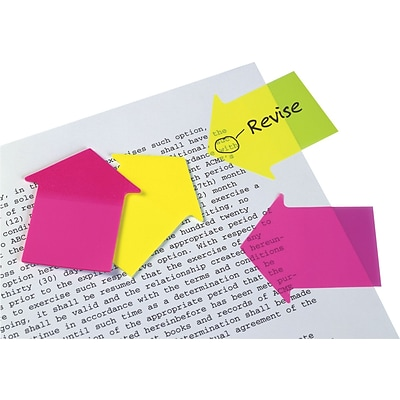 Redi-Tag® SeeNotes® Super Size Transparent Film Arrow Flags, Blank, Neon Yellow/Pink, 2 11/16 x 2 1/4, 60 Flags/Pad, 2 Pads/Pk