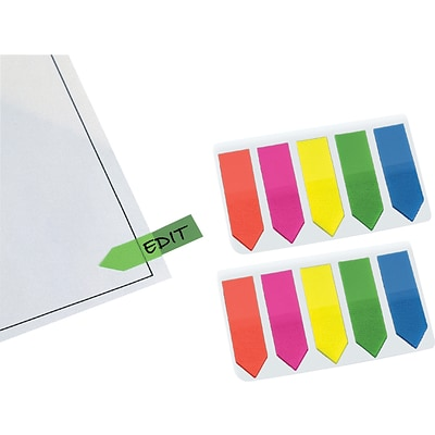 Redi-Tag® 1 Arrow Flags with Clip-On Holder, Assorted Neon Colors, 250 Flags/Pack