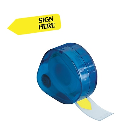 Redi-Tag® Yellow Sign Here Flags with Dispenser, Each