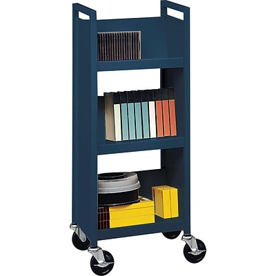 Bretford® Single-Sided Book Trucks, 3-Shelf, Narrow Width, Blue