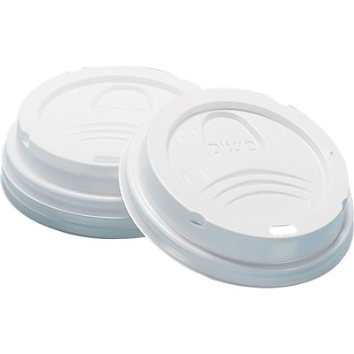 Dixie Dome Plastic Hot Cup Lid, 10-20 oz., White, 50/Pack (9542500DX)