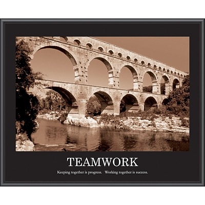Teamwork Framed Motivational Print, Sepia