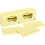 Post-it® Notes, 3 x 5, Canary Yellow, Lined, 12 Pads/Pack (635-YW)