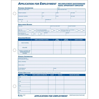 Adams® Employee Personnel File & Forms, Application for Employment, 100 Per Pack, 8-1/2x11