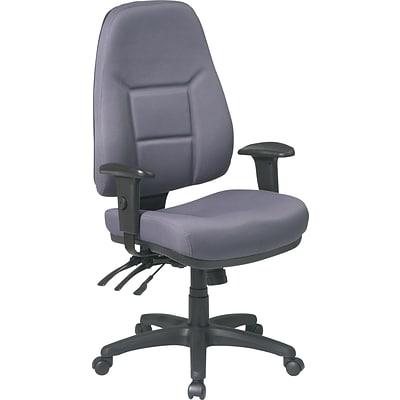 Office Star Super-Ergonomic High-Back Fabric Task Chair, Gray
