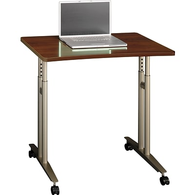 Bush Business Westfield 36W Adjustable Height Mobile Table, Hansen Cherry