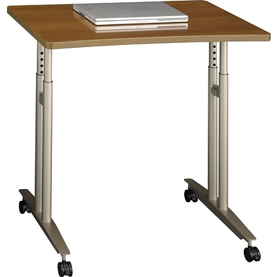 Bush Business Westfield 36W Adjustable Height Mobile Table, Cafe Oak
